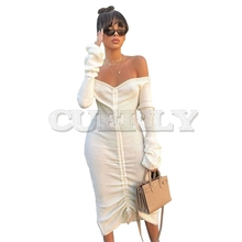Front Drawstring Sexy Bandage Dresses Women White CUERLY Neck Long Sleeve Club Party Dress Autumn summer Off Shoulder Maxi
