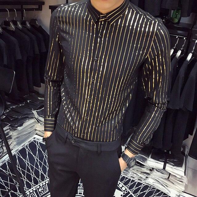 ed3527c9239 Quality Men Dress Shirt Brand New Slim Fit Long Sleeve Business Social Shirts  Mens Casual Single Breasted Night Club Prom Shirts