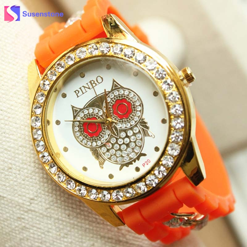 2017 Hot Sale New Silicone Rubber Strap Rhinestone Owl Watches Women Fashion Casual Quartz Watch Ladies Sport Wristwatches hot sale jelly silicone rubber candy quartz watch wristwatches for women girls students pink white