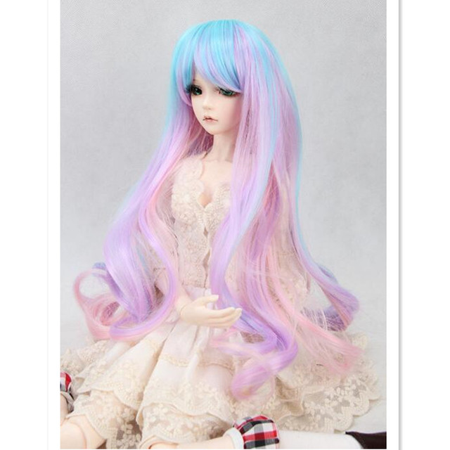 Mulicolor BJD Doll Wigs Long Curly Hair for Dolls,New Style 1/3 1/4 1/6 BJD Wigs Synthetic Doll Hair