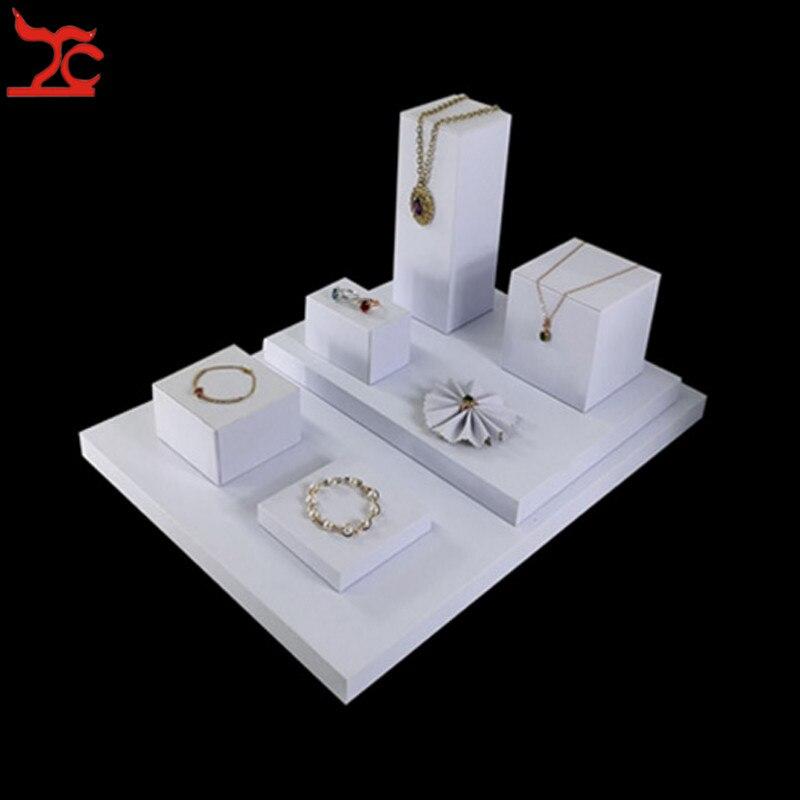8 шт./лот, портативная витрина из белого полиуретана для ювелирных изделий, деревянное ожерелье с подвесками кубиками, сережка, подставка, кольцо, цветок, трай3