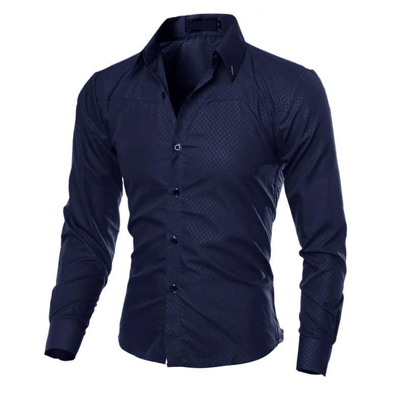 2018 Новые мужские повседневные рубашки в клетку мужские облегающие деловые рубашки топы мужские осенние рубашки с длинными рукавами черные и красные рубашки в клетку большие размеры 5XL