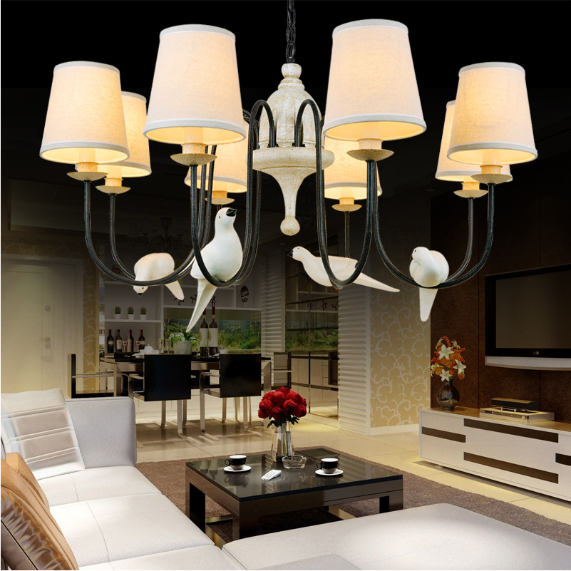 vintage retro loft Birds pendant lights lamp resin bird fabric lampshade for kitchen lighting dining room pendant lamp