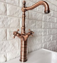 Antique Red Copper Tall Bathroom Basin Faucet Swivel Spout Sink Faucet Single Handle Vessel Sink Water Tap Mixer Krg057 стоимость