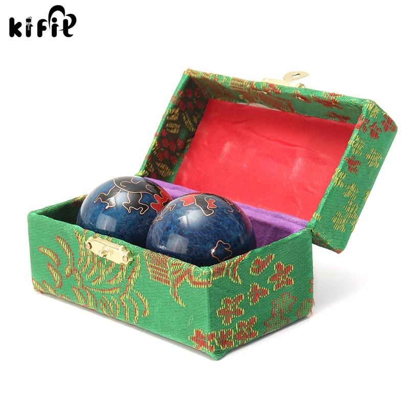 KIFIT 2Pcs סינית Cloisonne תרגיל לחץ כדור יד כף היד מוצק כרום בודינג כדור בריאות תרגיל תרפיה יד עיסוי כדור