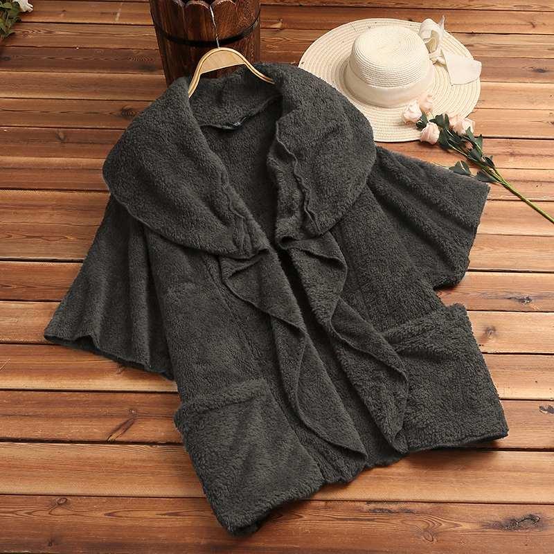 HTB1f6CdX1L2gK0jSZPhq6yhvXXav ZANZEA Women Fluffy Coat Oversized Long Sleeve Jackets Female Button Outwear Winter Warm Poncho Solid Autumn Top Lady Jumpers