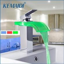Kemaidi 8220-3 Строительство & Недвижимость LED Цвета изменение Хром Водопад ванной бассейна раковина смеситель бассейна кран