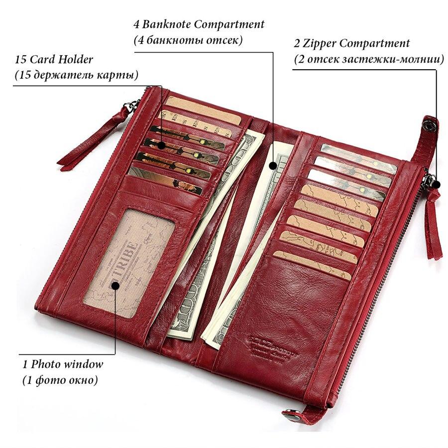 Véritable cuir femmes Long portefeuille coques de téléphone 5.5 pouces pour iPhone femelle fermeture éclair pince pour argent pochette porte-monnaie porte-carte - 5