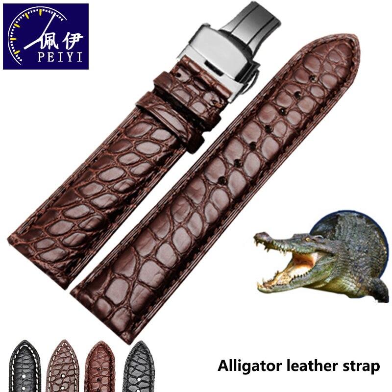 PEIYI ремешок из кожи аллигатора Ремешок из натуральной кожи 18 мм 20 мм черный коричневый мягкий и удобный Браслет Водонепроницаемый браслет