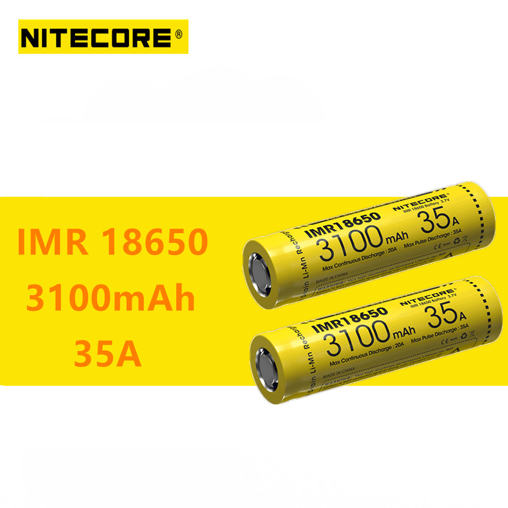 2pcs original Nitecore IMR18650 IMR 18650 3100mAh 35A 3 7v batteries High Drain Rechargeable Battery Ideal