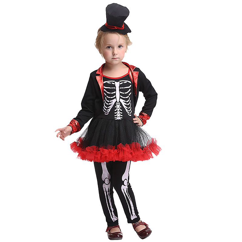 Baby Kid Girls Halloween Scary Skeleton Bone Print Witch Costume Fancy Cute Black Red Tutu Dress Pants Clothing Set For Child