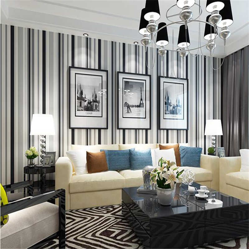beibehang simple black and white striped non woven wallpaper living room bedroom background fashion wallpaper papel de parede free shipping hepburn classic black and white photographs women s clothing store cafe background mural non woven wallpaper
