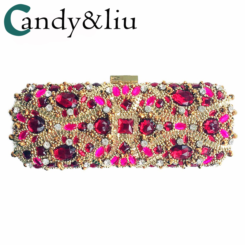 Bags for women 2017 Evening Bag Red Purple Diamond Handbag Crystal Hand Made Day Clutches Women Bag