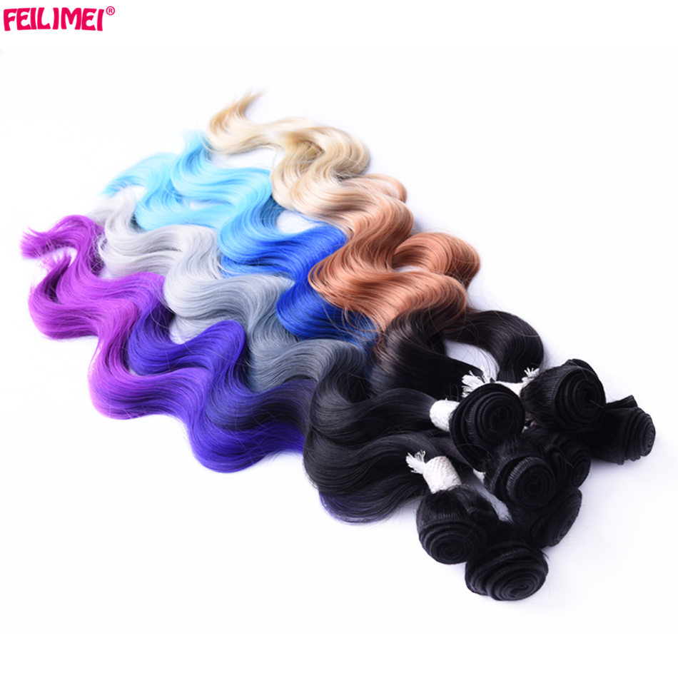 Feilimei 18inch 20inch 22inch 3bundles Synthetic Hair 3Tone Ombre Blonde Gray Blue Purple High Temperature Fiber Body Wave Weave