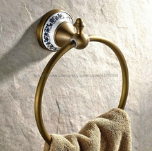 цена на Bathroom towel holder, Wall-Mounted Round antique brass Towel Ring with ceramic,Towel Rack Nba401