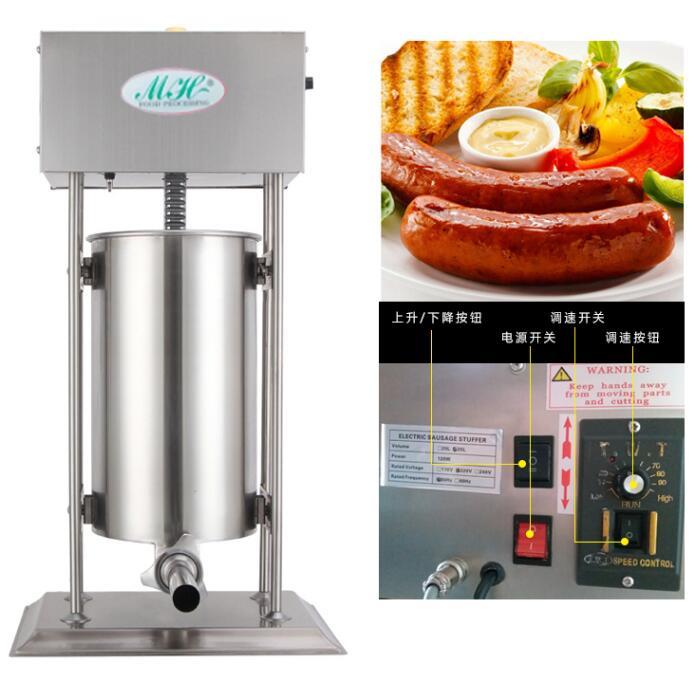 Eléctrica comercial embutidora 15L salchicha máquina de llenado automático salchicha del acero inoxidable 110/220 V con 4 embudos