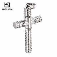 Kalen Mens Great Wall Pattern Cross Pendant Necklace Hip Hop Rock Stainless Steel Link Chain Necklace
