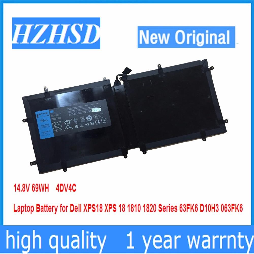 14.8V 69WH New original 4DV4C Laptop Battery for Dell XPS18 XPS 18 1810 1820 Series 63FK6 D10H3 063FK614.8V 69WH New original 4DV4C Laptop Battery for Dell XPS18 XPS 18 1810 1820 Series 63FK6 D10H3 063FK6