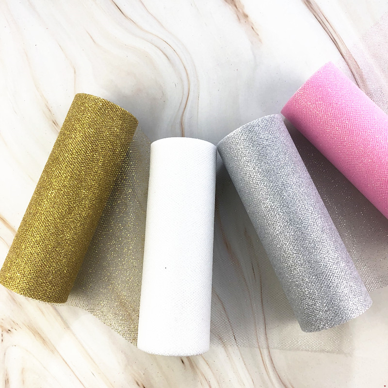 10 Yards 15cm Glitter  Tulle Roll  Spool Tutu Wedding Decoration Organza Laser DIY Craft Baby Shower Birthday Party Supplies.