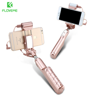 FLOVEME Luxury Mini Wired Handheld Selfie Stick Universal Monopod Phone Kickstand Self Timer For IOS Android