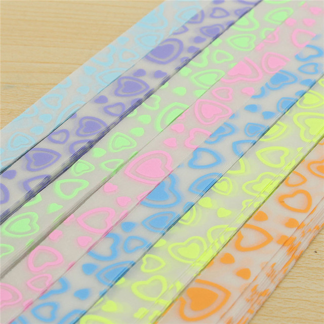 210pcs 7 Colors Luminous Handcraft Origami Lucky Star Paper Strip