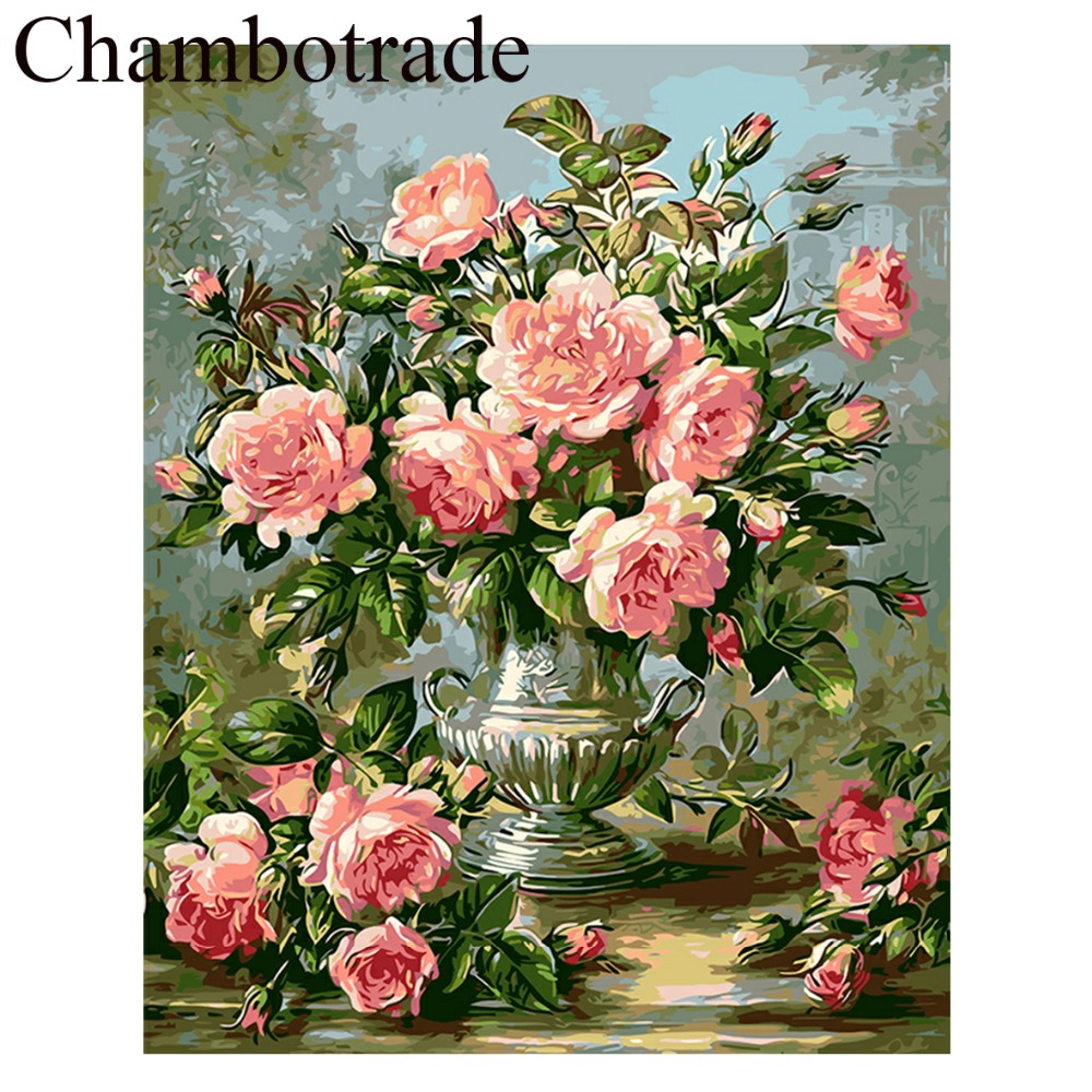 Top Rated Cradle black tea Flower DIY Picture Frameless Number Linen Canvas Painting Acrylicpaint Landscape Home Decor Artwork in Painting Calligraphy from Home Garden