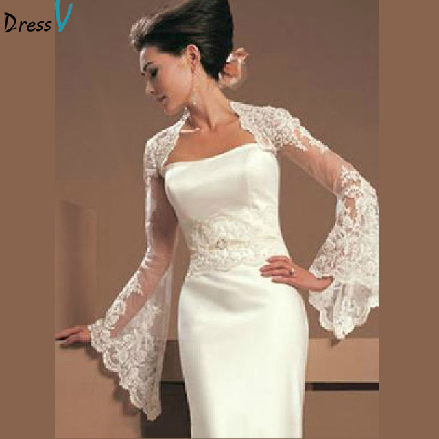 Dressv Fashion White Ivory Long Sleeve Lace Wedding Jacket Match Strapless Dress 2017