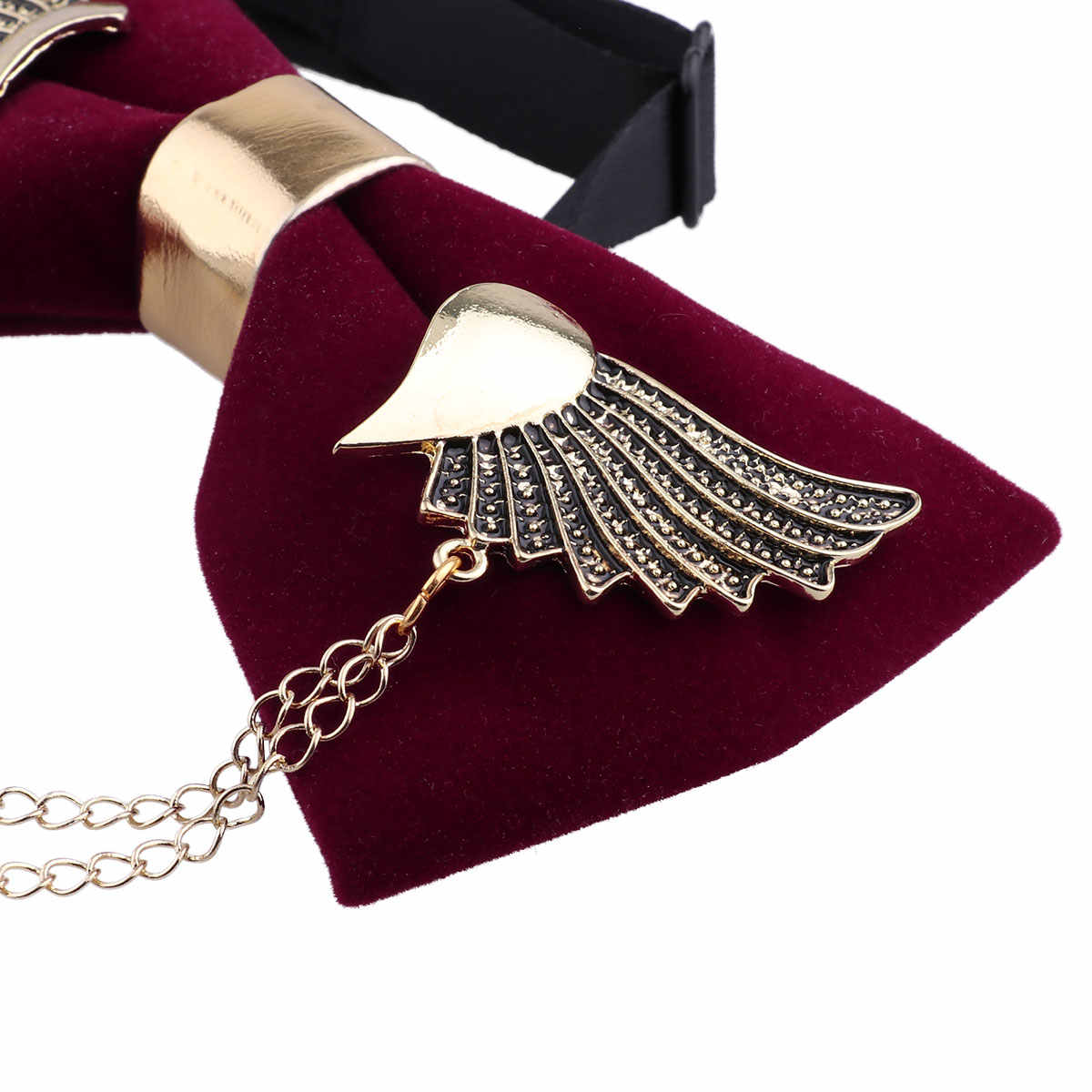 d238dc58f6bf ... MSemis Men Bow Tie Women Unisex Adjustable Metal Golden Wings Two Layer  Chains Flannel Pre- ...