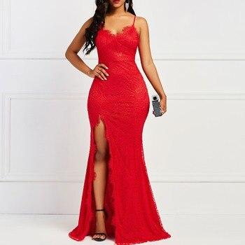 a5dc8f35ad4 Асимметричная рукавов Bodycon платье боковое Vent для женщин Элегантный  Вечеринка красные пикантные ужин кружево Длинные платья с разрезом