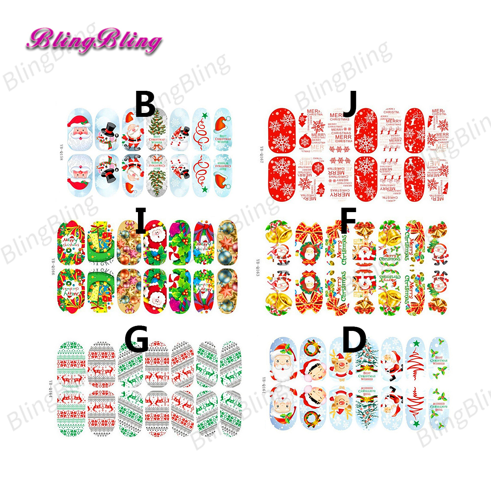 2018 Christmas Nail Sticker Xmas Nail Art Decorations Luminous Glow ...