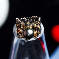 Cross border for speed sell pass hot hot style Tahiti black pearl ring Silver color treasure jewelry micro for
