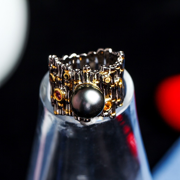 Cross-border for speed sell pass hot hot style Tahiti black pearl ring Silver color treasure jewelry micro for
