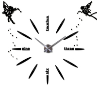 Angel 3D DIY Wall Clock Modern Silent Mechanism Large Clock Self-adhesive Wall Clocks for Kitchen Living Room Home Decor