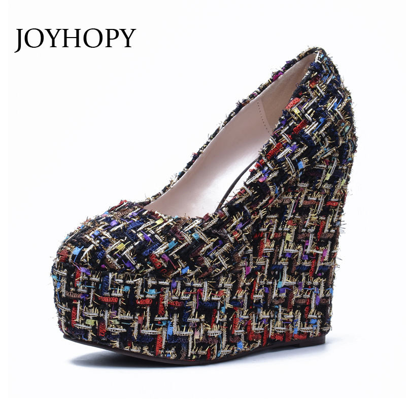 JOYHOPY 2018 New Women Wedges Platform Shoes Knitted Fabric 15cm Thick Bottom High Heels Woman Customize