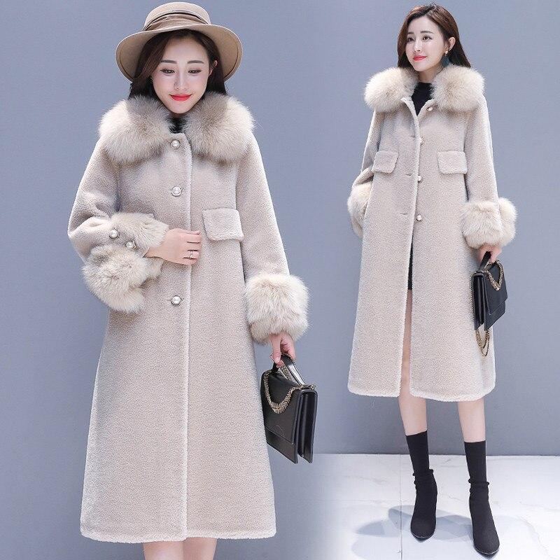 Beige 2018 Laine Manteau Fourrure Femmes Hiver Moyen Long Single De Chaud Épaississent Col Dames Survêtement Nouveau gray breasted Cw373 w8TTqxzEp