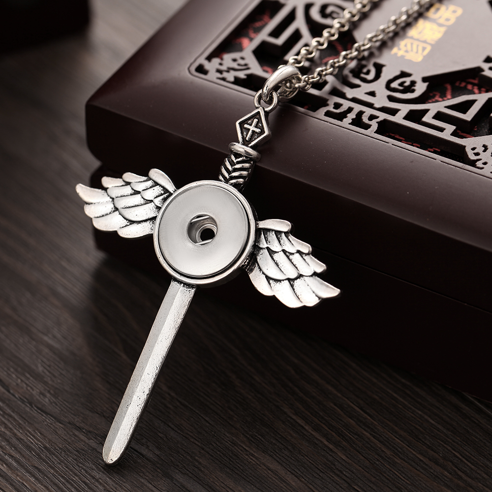 Snap Jewelry High Quality Angel Sword Snap Pendant Necklace fit Snap Button Necklaces 18mm 20mm For Women Button Jewelry snap button jewelry