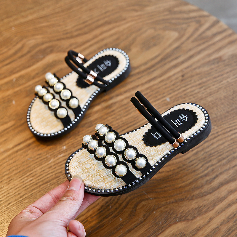 Cute Kids Sandals For Girls Summer Children Shoes Pearl Design Slippers Anti Slip Sandals Indoor Outdoor Beach Shoes