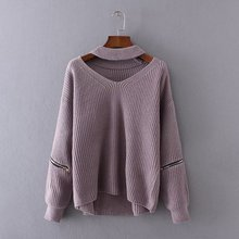 large size Korean big size new loose sweater zipper splicing V Halter Neck Long Sleeve Sweater pullover