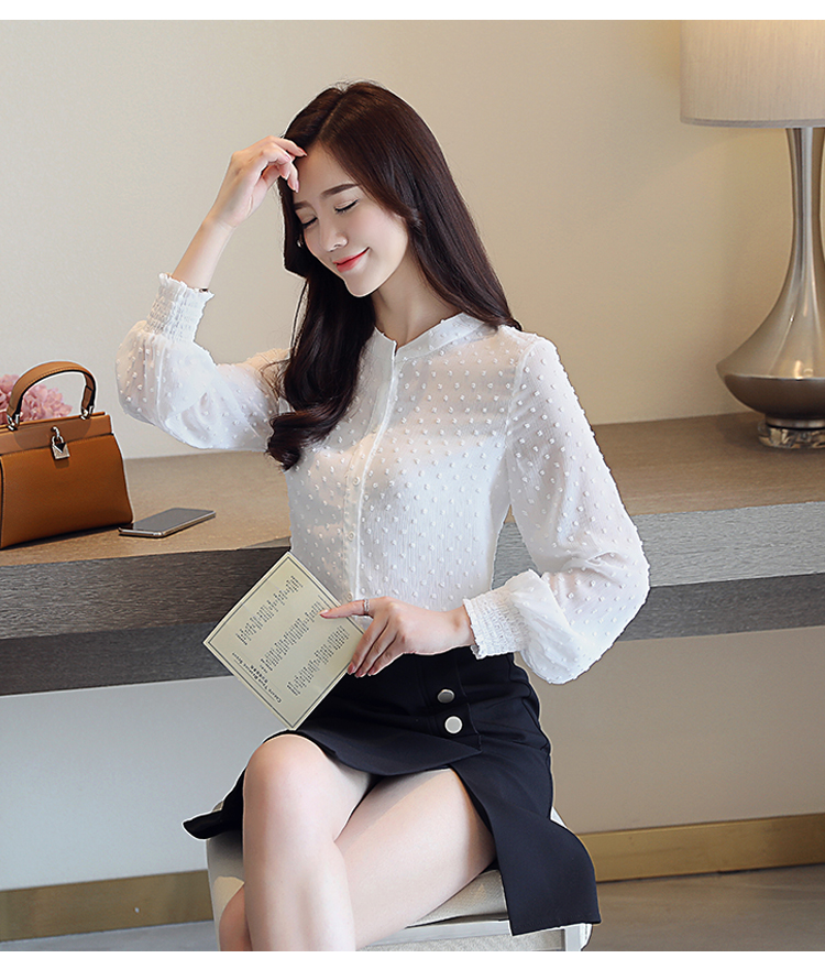 19 New arrived women shirt sweet female V collar wave point long-sleeved suntan women blouse Korean style OL blusa 0974 30 13
