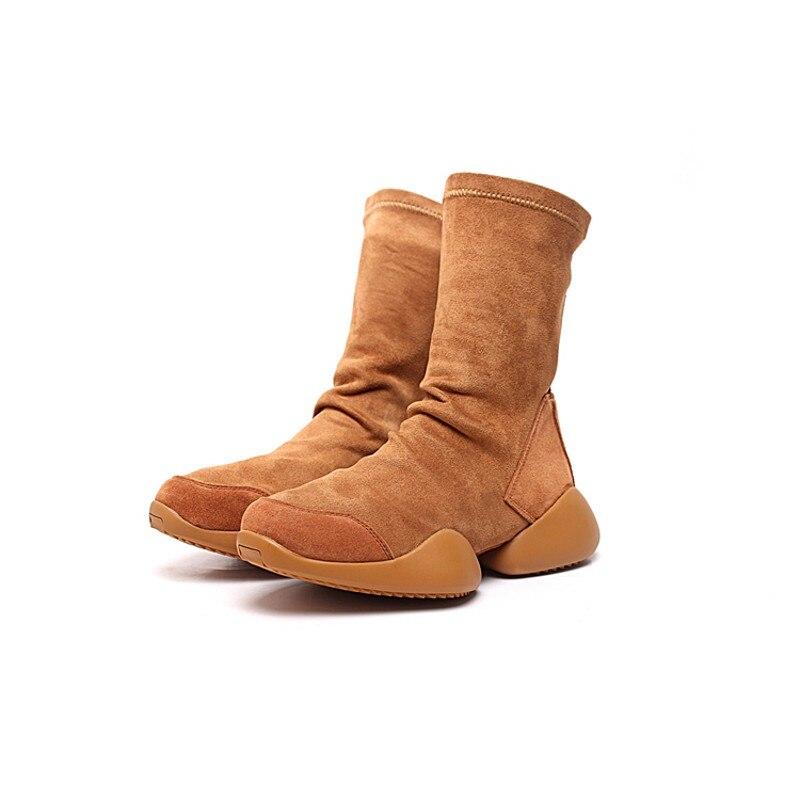 Uomini Calzino Scarpe Mid Calf Boots Flock Lusso scarpe Da Ginnastica Equitazione Inverno Casual Scarpe Da Ginnastica Amanti Flats Scarpe Nero Più Il Formato 45 stivali - 4