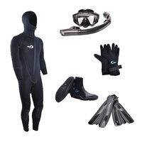 Yonsub Дайвинг Плавание Ласты гидрокостюм с маска сухая трубка перчатки и ботинки для погружения набор для праздника/стартовый набор