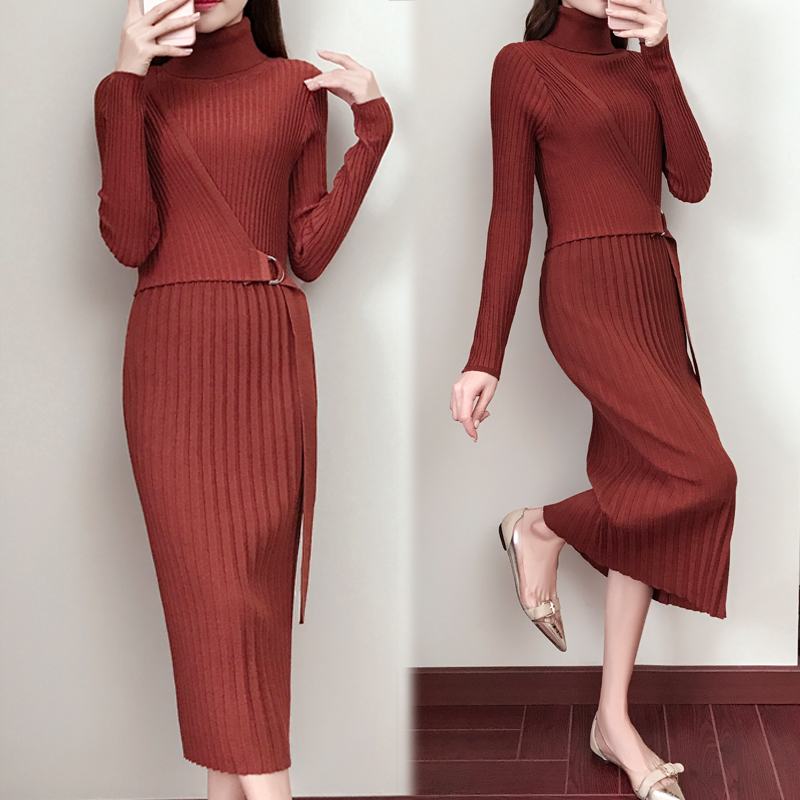 Women knitwear long dresses slim korean version fall and winter long sleeve turtleneck knit sweater dress vestidos belt design