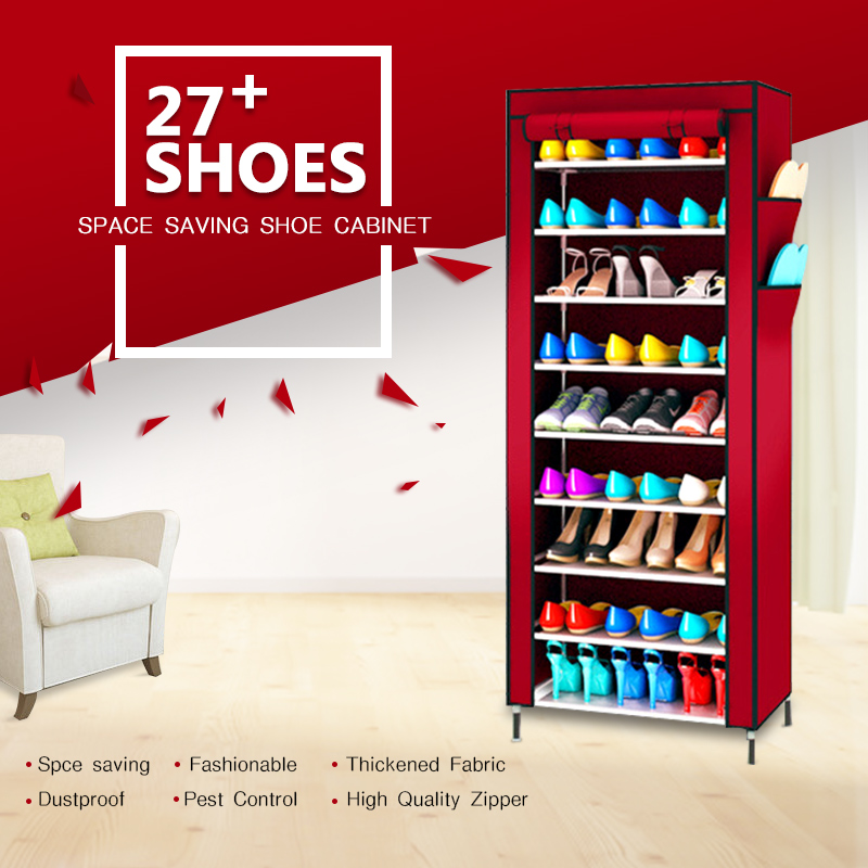 Large Capacity Shoe Rack Shoes Cabinet Canvas Fabric Standing Storage Rack  W/ Zipper Prevent Dust Shoe Shelf Organizer Furniture In Shoe Cabinets From  ...