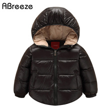 Abreeze 2017 New baby down & parkas fashion red/black/blue baby child coats white duck down hooded outerwear for baby girls&boys