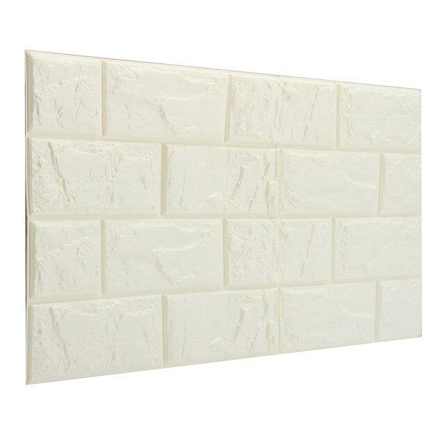 3D Weiße Ziegel Tapete Selbstklebende Wand Wohnzimmer Decor 60x30 Cm  Polyethylen Antibakterielle Schallschutz Einfach Sauber