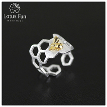 Lotus Fun Real 925 Sterling Silver Natural Handmade Fine Jewelry Creative Honeycomb Open Ring Home Guard