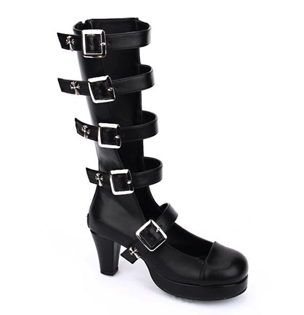 Lolita Angéliques Pompes Légales Lady Talons Femmes Robe 33 Fille Hauts Princesse Parti 47 Femme Punk Noir Moto Mentions Mori Bottes Chaussures cRq534AjL