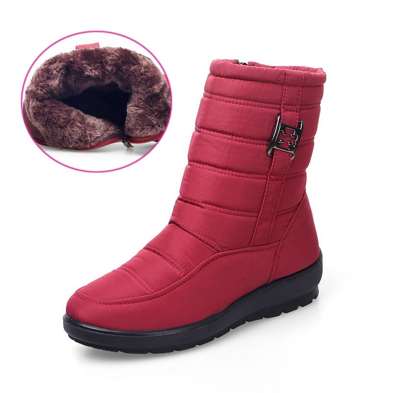 Waterproof winter boots women shoes snow plush boots women fashion Mid-Calf boots keep warm cotton platform botas mujer fashion keep warm winter women boots snow boots 2017 buckle cotton boots women boots shoes