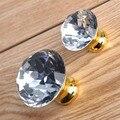 Transparente cristal k9 ganar gabinete perillas tirones del cajón dresser tiradores de las puertas de gabinete de cocina de moda diamantes de imitación de oro de lujo