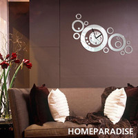 Silver New Magnificent Art Luxury Design DIY Removable 3D Crystal Mirror Wall Clock Wall Sticker Living Room Bedroom Decor